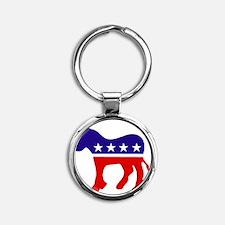 Democrat Donkey Round Keychain