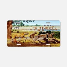 Hunting sabre-toothed cat Aluminum License Plate