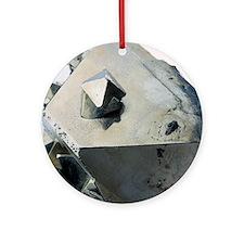 Iron pyrite crystal Round Ornament