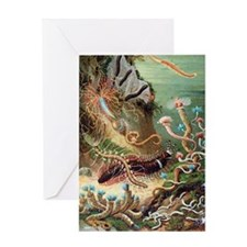 Marine worms, artwork Greeting Card