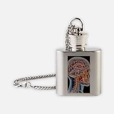 Internal brain anatomy, artwork Flask Necklace
