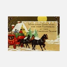 Christmas Horse and Buggy Rectangle Magnet