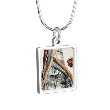 Iliac blood vessel nerves, Silver Square Necklace