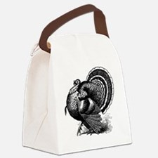 Black and White Turkey in Strut Canvas Lunch Bag