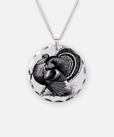 Black and White Turkey in St Necklace Circle Charm