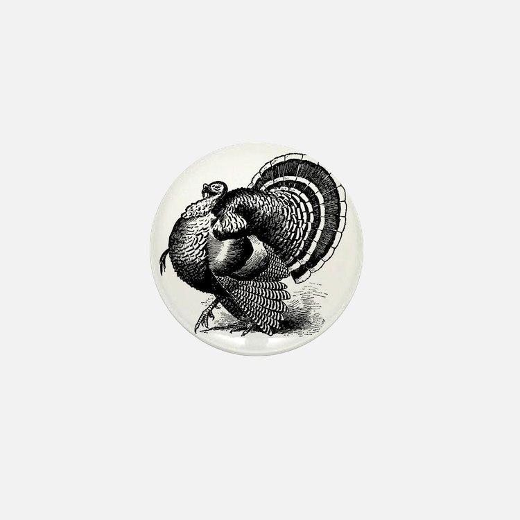 Black and White Turkey in Strut Mini Button