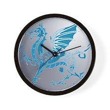 Blue  Silver Dragon Wall Clock