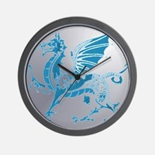 Blue  Silver Dragon Wall Clock