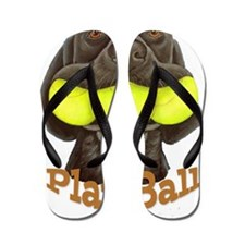 Play Ball, Labrador with Tennis Balls Flip Flops