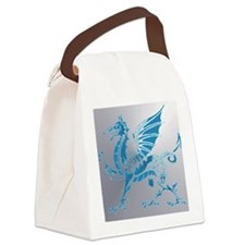 Blue  Silver Dragon Canvas Lunch Bag