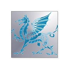 """Blue  Silver Dragon Square Sticker 3"""" x 3"""""""