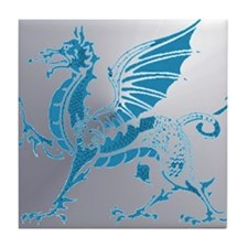 Blue  Silver Dragon Tile Coaster