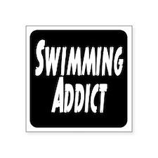 """Swimming addict Square Sticker 3"""" x 3"""""""