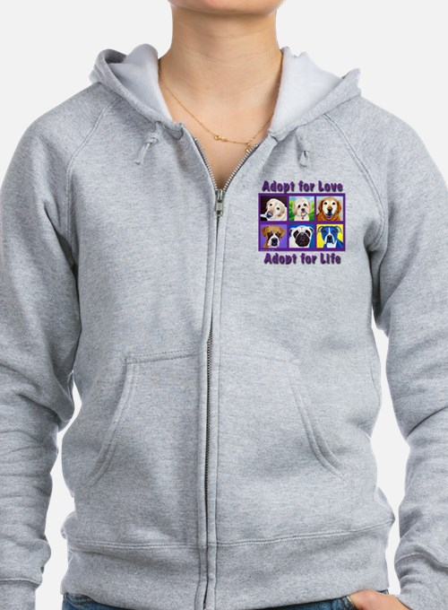 Adopt for Love, Adopt for Life Zip Hoodie