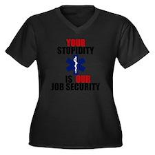 Your Stupidi Women's Plus Size Dark V-Neck T-Shirt