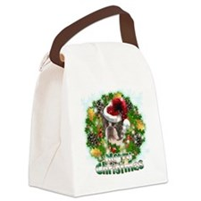 Merry Christmas Boston Terrier Canvas Lunch Bag