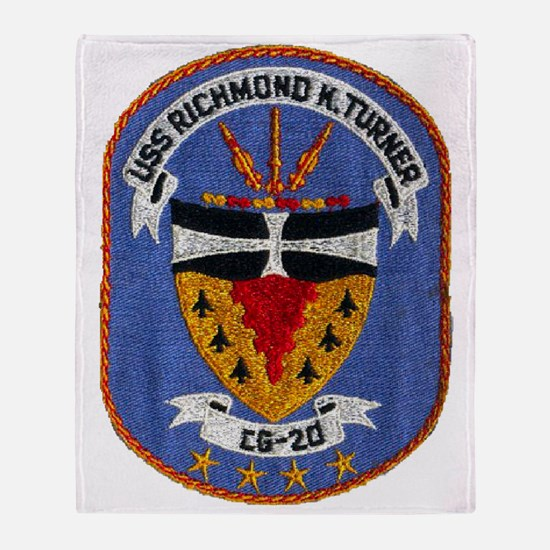 uss richmond k. turner cg patch tran Throw Blanket