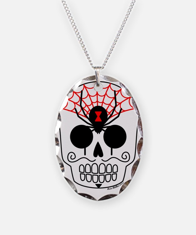 Black Widow Sugar Skull Necklace