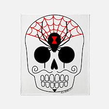 Black Widow Sugar Skull Throw Blanket