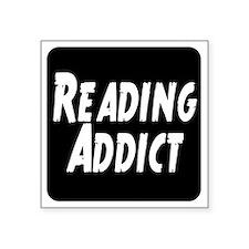 """Reading addict Square Sticker 3"""" x 3"""""""