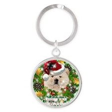 Merry Christmas Chow Chow Round Keychain