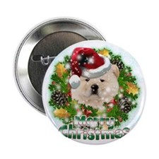 "Merry Christmas Chow Chow 2.25"" Button"