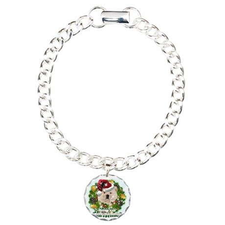Merry Christmas Chow Cho Charm Bracelet, One Charm