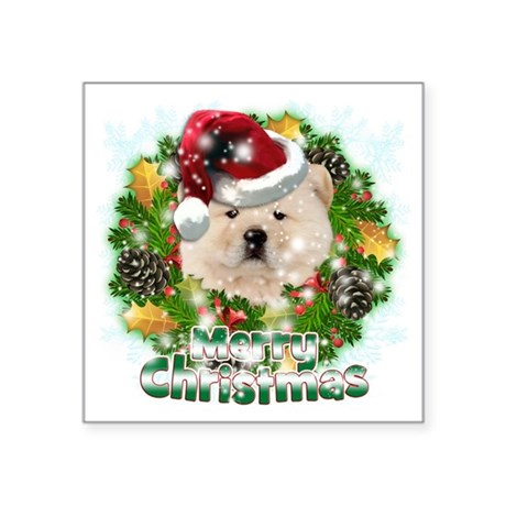"""Merry Christmas Chow Chow Square Sticker 3"""" x 3"""""""