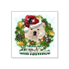 "Merry Christmas Chow Chow Square Sticker 3"" x 3"""