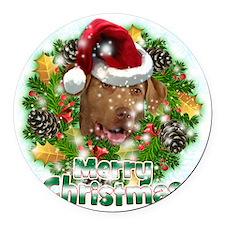 Merry Christmas Chesapeake Bay Re Round Car Magnet