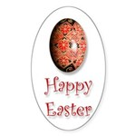 'Happy Easter' Oval Sticker