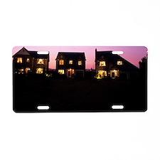 Houses at dusk Aluminum License Plate
