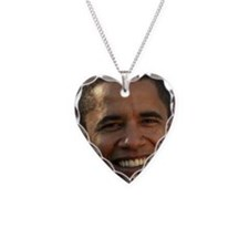 Obama Head Necklace Heart Charm
