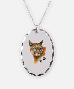 Cougar, Mountain Lion Necklace Oval Charm