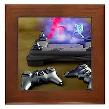 Holographic games machine, artwork Framed Tile