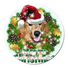 Merry Christmas Golden Retriever Round Car Magnet