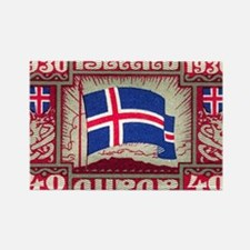 1930 Iceland Flag Postage Stamp Rectangle Magnet
