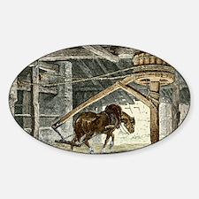 Horse gin, illustration Sticker (Oval)