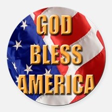 God Bless America Round Car Magnet