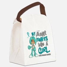 D Aunt Fights Like Girl Ovarian C Canvas Lunch Bag
