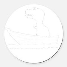 t-rex hates rowing2 Round Car Magnet