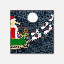 """Santa Dachshund Square Sticker 3"""" x 3"""""""