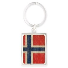 Vintage Norway Flag Portrait Keychain