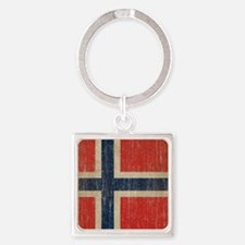 Vintage Norway Flag Square Keychain