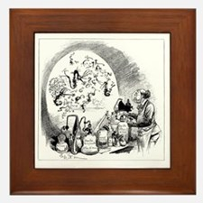 Microbiology caricature, 19th century Framed Tile
