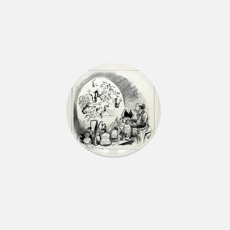 Microbiology caricature, 19th century Mini Button