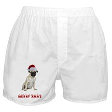 Merry Christmas Pug Boxer Shorts