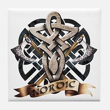 viking knot tribal celtic sword axe Tile Coaster