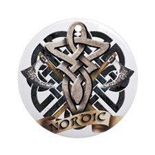 viking knot tribal celtic sword axe Round Ornament