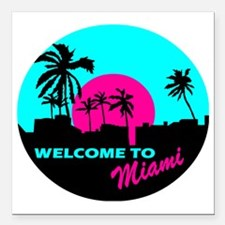 "Welcome to Miami Square Car Magnet 3"" x 3"""